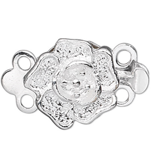 10 Silver Plated Brass 9x9mm Rose Flower 2 Strand Box Clasps