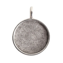 1 Antiqued Silver Plated Pewter Large Circle Bezel Pendant