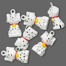 6 Adorable Spotted Dog Bell Charms ~ 22x14mm Black White