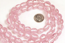 1 Strand Rose Pink Lampwork Glass 12mm Puffy Coin Foil Beads *