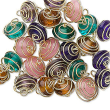 25 Gold Plated Brass Wire Wrapped Transparent Glass Beads Mix ~ 7x4-11x6mm