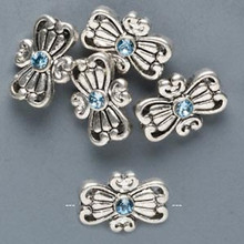 5 Antiqued Silver Pewter Butterfly Beads with Aqua Swarovski Crystals *