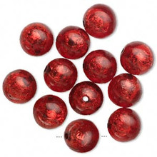 12 Glistening Red with Silver Foil Round Resin Beads ~ 16mm *