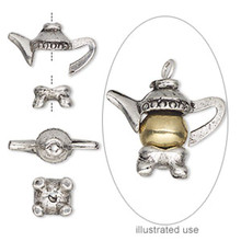 1 Set Antiqued Pewter 20x17mm TEAPOT Bead Cap for 7-8mm Beads