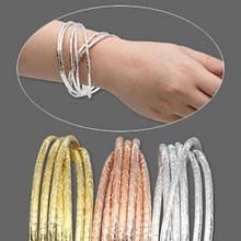 60 Assorted Silver, Gold, Copper Finished Steel Bangle Bracelets