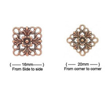 48 Antiqued Copper Plated Brass Filigree Square Connectors ~ 20x20mm