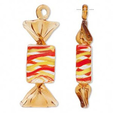 2 Glass Orange Striped Peppermint Candy Pendant Charms ~ 66x24mm  *