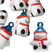 6 Snowman Painted Jingle Bell Charms ~  24x18x13mm Snowmen