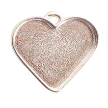 1 Sterling Silver Plated Pewter Large Heart Bezel Pendant