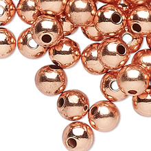 100 Solid Copper 3mm Round Smooth Beads