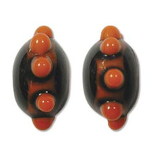 1 Strand  Lampwork Glass Black & Orange Bumby Rondelle Beads ~ 9x14mm *