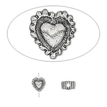 10 Antiqued Silver Plated Pewter Double Sided Heart Beads ~ 5x3mm  *