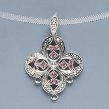 1 Antique Pewter Flower Pendant with bail & Swarovski Rose Crystals *