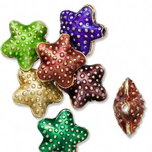 6 Gold Plated Copper Mixed Cloisonne Starfish Beads ~ 16x8mm