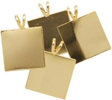 4 Gold Plated Brass Square Pendant Plates with Bails