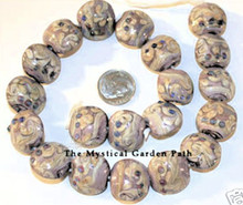 10 Lampwork Glass Muted Lavender Beige Puffy Coin Beads ~ 8