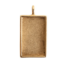 1 Antiqued Gold Plated Pewter Large Rectangle Bezel Pendant