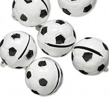6 Black White Soccer Ball Bell Charms ~ 17x16mm Sports