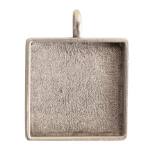1 Antiqued Silver Plated Pewter Large Square Bezel Pendant