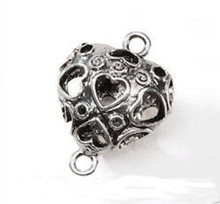 1 Antiqued Silver Plated Puffed Double Sided Heart Connector ~ 25x19mm  *