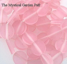 1 Strand Bright Frosted Pink Resin 12mm Round Coin Beads *