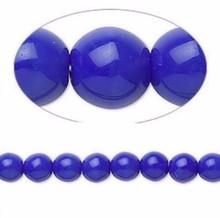 1 Strand Czech Druk Glass Opaque Blue Round Beads ~ 6mm