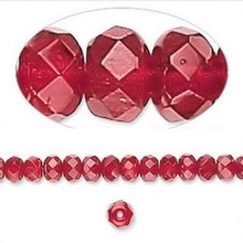 1 Strand Czech Fire Polished Glass Rondelle Beads ~ 5x4mm ~ Ruby Red