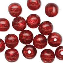 16 Glistening Red Foil Round Resin Beads ~ 10mm *