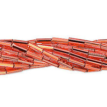 "1 Hank SilverLined Dark Orange Glass Tube Bugle Beads ~ 6mm ~ 1/4"" Long"