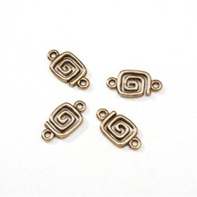 20 Antiqued Gold Plated Brass Spiral Square Connecters ~ 14x7mm