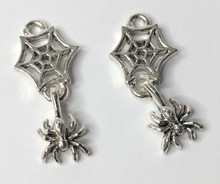 2 Antiqued Pewter Swinging Spider with Web Charms ~ 26x12x3mm