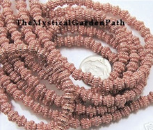 1 Strand Shiny Copper Plated Pewter Ribbed Beads ~ 5x6mm *