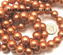 1 Strand Gorgeous Copper 14mm Round Shell Pearl Beads *