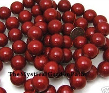 1 Strand Gorgeous Garnet Red 16mm Round Shell Pearl Beads *