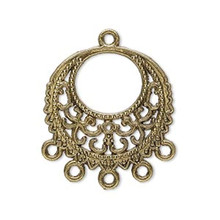 20 Antiqued Brass Focal Round Filigree 6 Loops ~ 27x32mm
