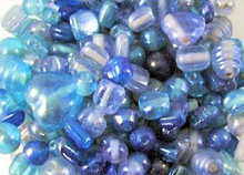 100 Grams Blue Ocean Luster Glass 4-17mm Shapes Beads Mix *