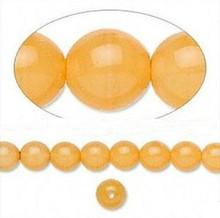 1 Strand Czech Druk Glass Round Tangerine Beads ~ 6mm
