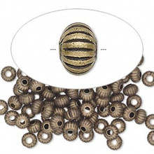 100 Antiqued Gold Plated Brass Corrugated Saucer Beads ~ 4.5x3.2mm