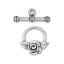 6 Sets Antiqued Silver Plated Pewter Rose Flower Toggle Clasps *
