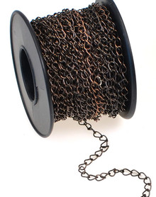 32 Foot Spool Antiqued Copper Plated Brass Bulk Curb Chain with 2.8x4mm Links