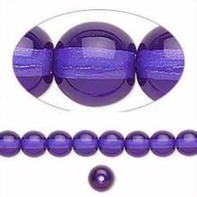 1 Strand Czech Glass Druk Transparent Purple Blue Round Beads ~ 6mm