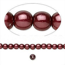 1 Strand Czech Pressed Pearl Coated Glass Burgundy Round Beads ~ 4mm