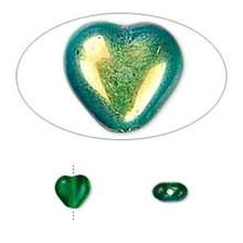 "16"" Strand Czech Pressed Glass 6mm Heart Beads ~ AB Emerald Green *"