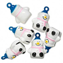 6 Snowman Pink Blue Jingle Bell Charms ~ Snowmen