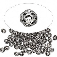 100 Antiqued Silver Plated Cut Out Round Spacer Beads ~  4mm