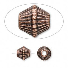 20 Antiqued Copper Large Ribbed Bicone Beads ~  9x9mm