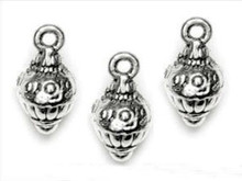 16 Antiqued Silver Detailed Drops with Loop Charms  ~ 8.5mm  *  np