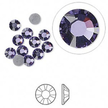 12 Hot Fix Flat Back Round Rhinestone Crystals ~ Tanzanite Purple ~4.7-4.8mm ~ SS20 *