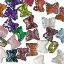 100 Mixed Colors Glass Butterfly Beads ~ 9x8-10x9mm