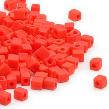 25 Grams Miyuki Opaque Frost Orange 3.5-3.7mm Square Glass Seed Beads (SB406F) *